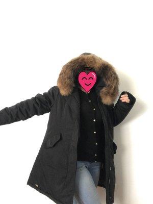 Parka identisch Woolrich Großes EchtFell Pelz Jacke schwarz warm Neu