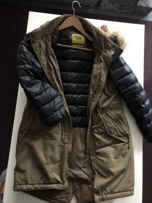 Witty Knitters Manteau à capuche kaki-noir