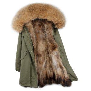 Parka Jacke Blogger Echtpelz Mantel Waschbär Army S 36 Luxus
