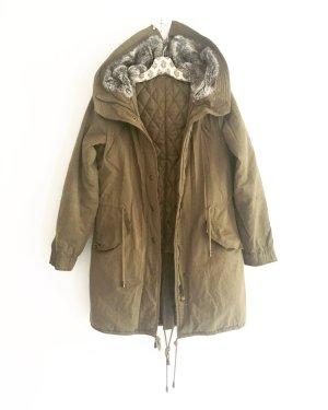 parka / jacke / mantel / vintage  / oliv / khaki / fake fur / edgy