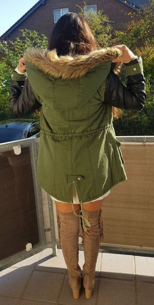 Parka Jacke Winterjacke Winter XS oliv khaki schwarz Leder Fell blogger hipster boho Mantel