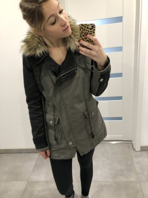 Bershka Military Jacket black-khaki