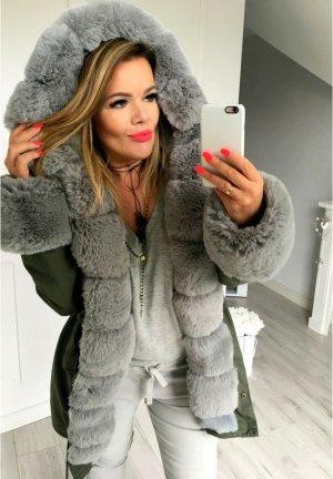 Parka Khaki +Size NEU ✔ Anorak Jacke Mantel Winterjacke Wintermantel Fell Fake Fur gefüttert Kunstfell XL Kapuze Größe 48