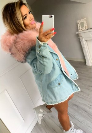 Parka Mantel Anorak Jacke Blogger Jacke Vintage Look Jeans Jacke XL Kapuze Fell Kunstfellkragen rosa Fell  passt bei M/38