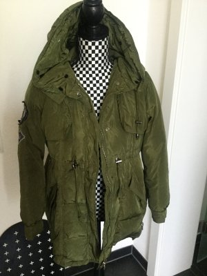 Parka, Mantel mit Reißverschluss, Patches, Kapuze, Details, Mantel, Jacke
