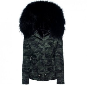 We Love Furs Parka negro-verde