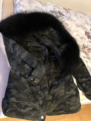 We Love Furs Parka zwart-groen