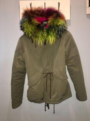 Manteau à capuche kaki-violet