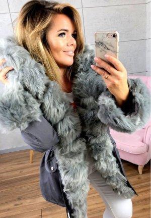Parka NEU ✔ Anorak Jacke Mantel allover Fell Oversized Winterjacke grau silber Wintermantel Fell Fake Fur gefüttert Kunstfell XL Kapuze silber Fell M