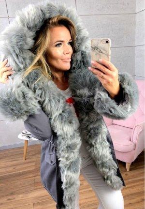 Parka NEU ✔ Anorak Jacke Mantel allover Fell Oversized Winterjacke grau silber Wintermantel Fell Fake Fur gefüttert Kunstfell XL Kapuze silber Fell S/36