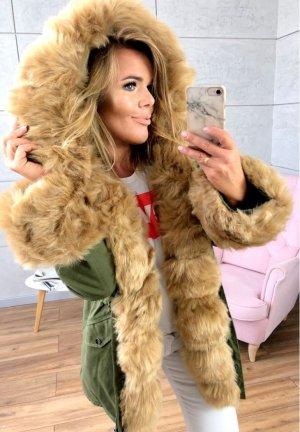 Parka NEU ✔ Anorak Jacke Mantel allover Fell Winterjacke Wintermantel Fell Fake Fur gefüttert Kunstfell XL Kapuze beiges Fell XS