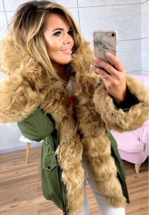 Parka NEU ✔ Anorak Jacke Mantel allover Fell Winterjacke Wintermantel Fell Fake Fur gefüttert Kunstfell XL Kapuze beiges Fell M