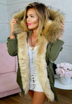 Parka NEU ✔ Anorak Jacke Mantel Winterjacke Wintermantel Fell Fake Fur gefüttert Kunstfell XL Kapuze beiges  Fell Gr. 34 + 36 + 38 + 40