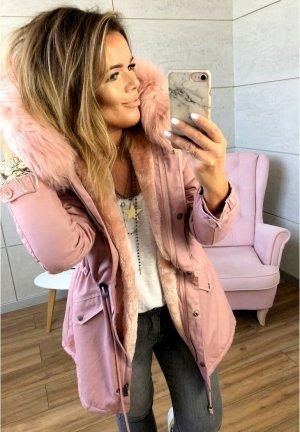 Parka NEU ✔ Anorak Jacke Mantel Winterjacke Wintermantel Fell Fake Fur gefüttert Kunstfell XL Kapuze rosa Fell XS