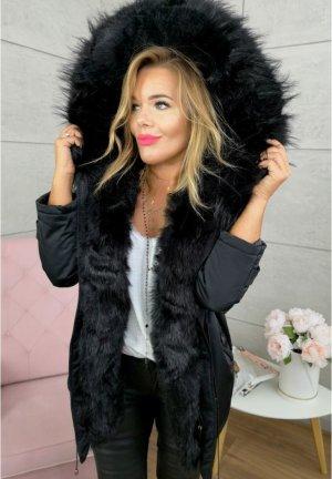 Parka NEU ✔ Anorak Jacke Mantel Winterjacke Wintermantel Fell Fake Fur gefüttert Kunstfell XL Kapuze schwarzes Fell 36-40