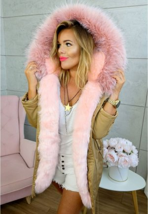 Parka NEU ✔ Anorak Jacke Mantel Winterjacke Wintermantel Fell Fake Fur gefüttert Kunstfell XL Kapuze rosa Fell 36-40