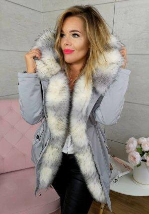Parka NEU ✔  Anorak Jacke Mantel Winterjacke Wintermantel Fell Fake Fur gefüttert Kunstfell XL Kapuze silber graues Fell Gr. 36 + 38 + 40