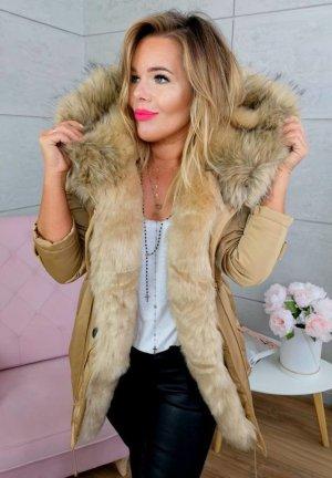 Parka NEU ✔ Anorak Jacke Mantel Winterjacke Wintermantel Fell Fake Fur gefüttert Kunstfell XL Kapuze beige/braunes Fell 36-40
