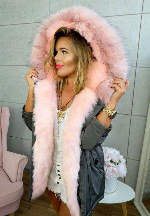 Parka NEU ✔ Anorak Jacke Mantel Winterjacke Wintermantel Fell Fake Fur gefüttert Kunstfell XL Kapuze rosa Fell Gr. 36 + 38 + 40