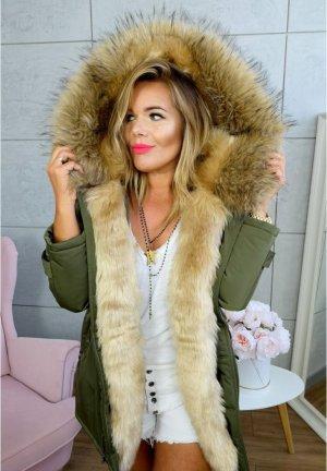 Parka NEU ✔ Anorak Jacke Mantel Winterjacke Wintermantel Fell Fake Fur gefüttert Kunstfell XL Kapuze beiges  Fell Gr. 36 + 38 + 40