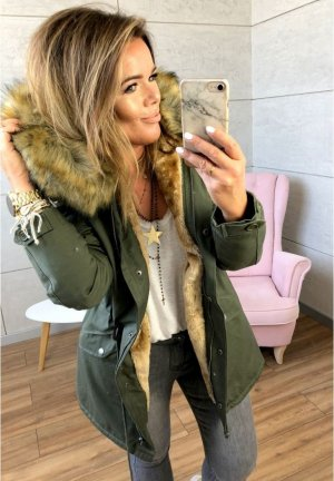 Parka NEU ✔ Anorak Jacke Mantel Winterjacke Wintermantel Schwalbenschwanz Fell Fake Fur gefüttert Kunstfell XL Kapuze Fell M