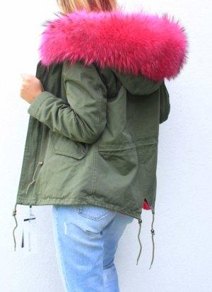 Parka Pelz Echtfell Winterjacke pink Blogger