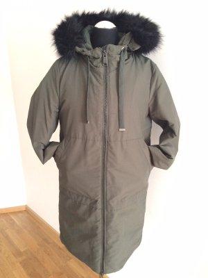 Zara Quilted Coat khaki-black