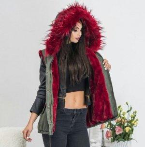 Parka Weste Blogger XXL Kapuze Winter Kunstfell  Damen Fashion