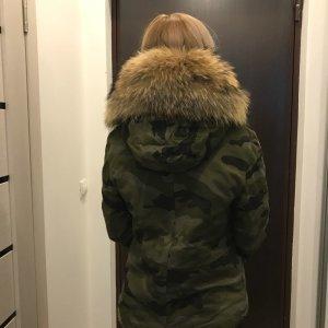 Parka Winterjacke Pelz Fell Camouflage khaki Army
