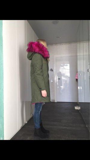 Parka Winterjacke Pelz pink XXL Echtfell Fellkragen