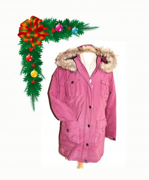 Parka Wintermantel Winterjacke Mantel Jacke Kapuze Brombeer 42