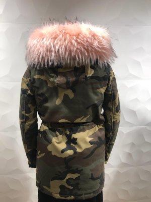 Cappotto in eco pelliccia cachi-rosa