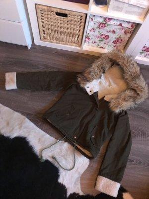 Sheinside Fur Jacket dark green-khaki