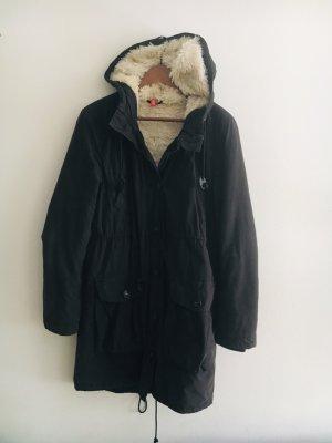 H&M Parka zwart-wolwit