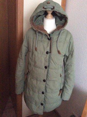 Manteau à capuche vert clair-gris vert