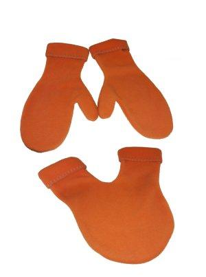 Partnerhandschuhe für Verliebte, ungetragen in einem schönen Orange