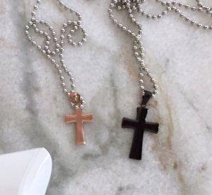 Partnerketten Kreuze schwarz Rosegold Edelstahl inkl. Ketten von Schmuckelfe