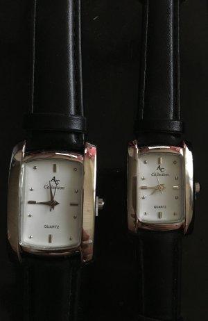 Partneruhren/ Armbanduhren 2x von AC Collection in Leder schwarz NEU