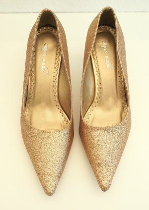Pointed Toe Pumps gold-colored synthetic