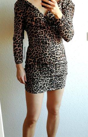 Zara Vestido negro-beige Poliéster