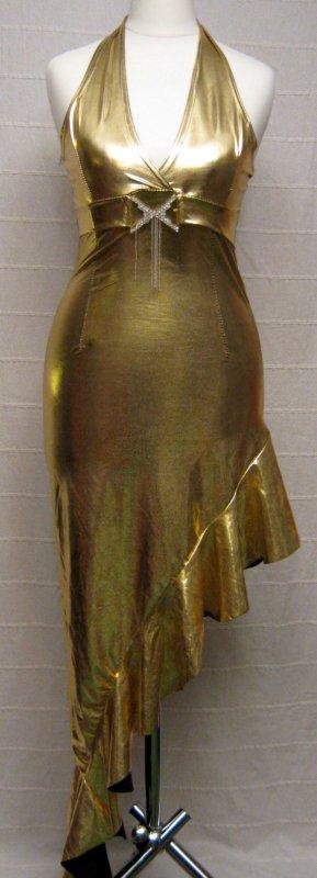 Party Kleid Asyymetrischer Saum Neckholder Gold Größe 32