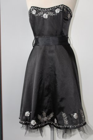 Party Kleid schwarz Satin Schleife Cotton Club Gr. UK 12 EUR 40 M D 38