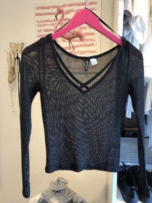 H&M Mesh Shirt black-gold-colored