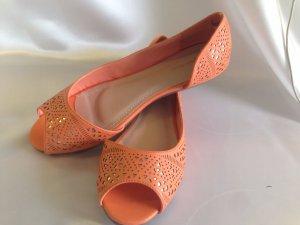 Party oder Business Damen Ballerinas Sommer Strand Sandaletten Orange-Gold