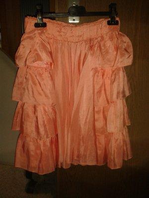 Jupe à volants orange clair soie