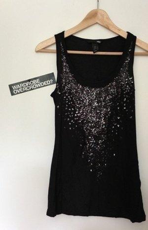 Party Top mit Paillettenbesatz von H&M, 34/XS in schwarz