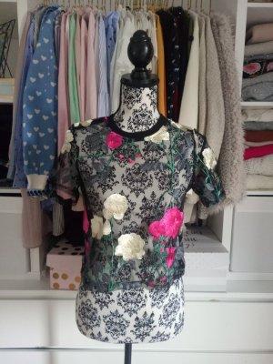 Party Top Shirt Transparent Crop Cropped Stickereien S 36 Creme Pink Schwarz