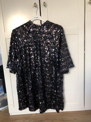 H&M Sequin Dress black-silver-colored