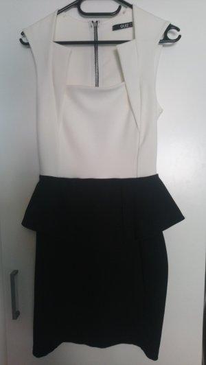 Vestido strapless blanco-negro