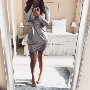 Partykleid in Silber metallic Mini Kleid zara